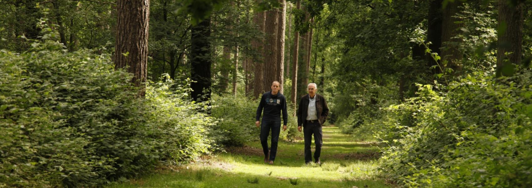 2 mannen aan het wandelen in een dreef van het bos
