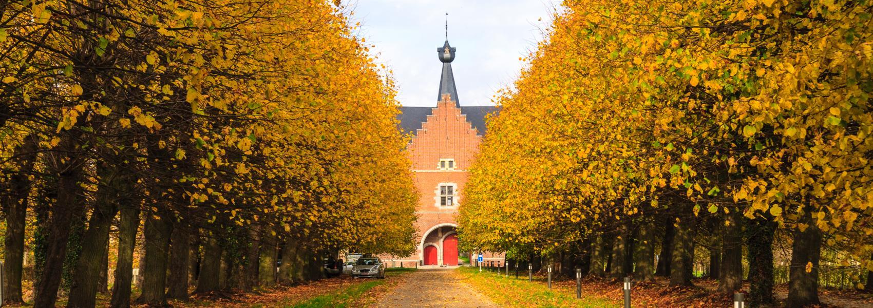 vrouwenabdij in een herfstlandschap