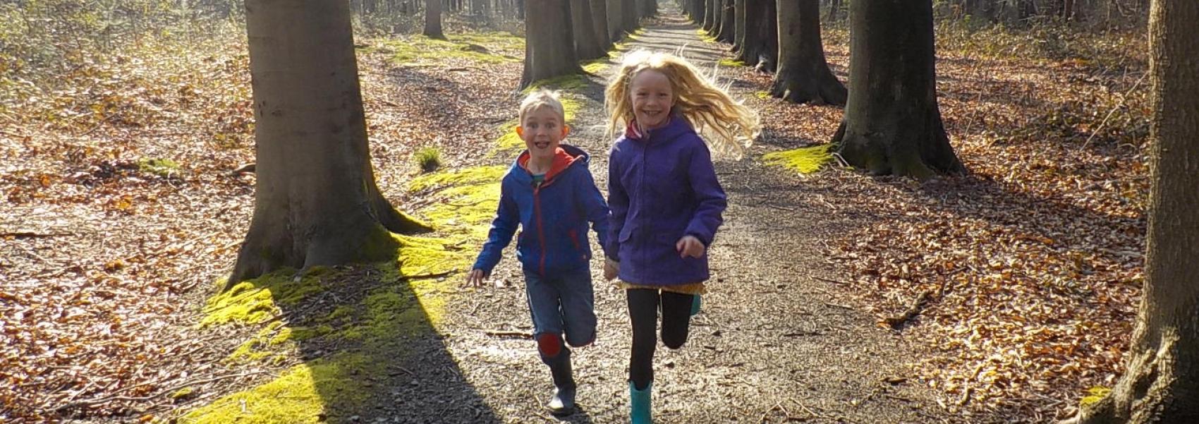 2 kinderen lopen in een dreef van het bos