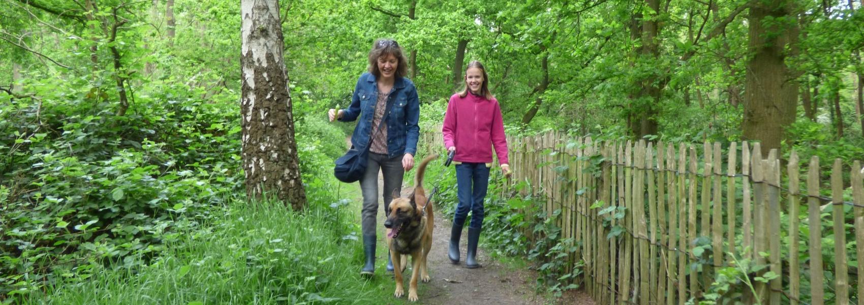 2 wandelaars met hond