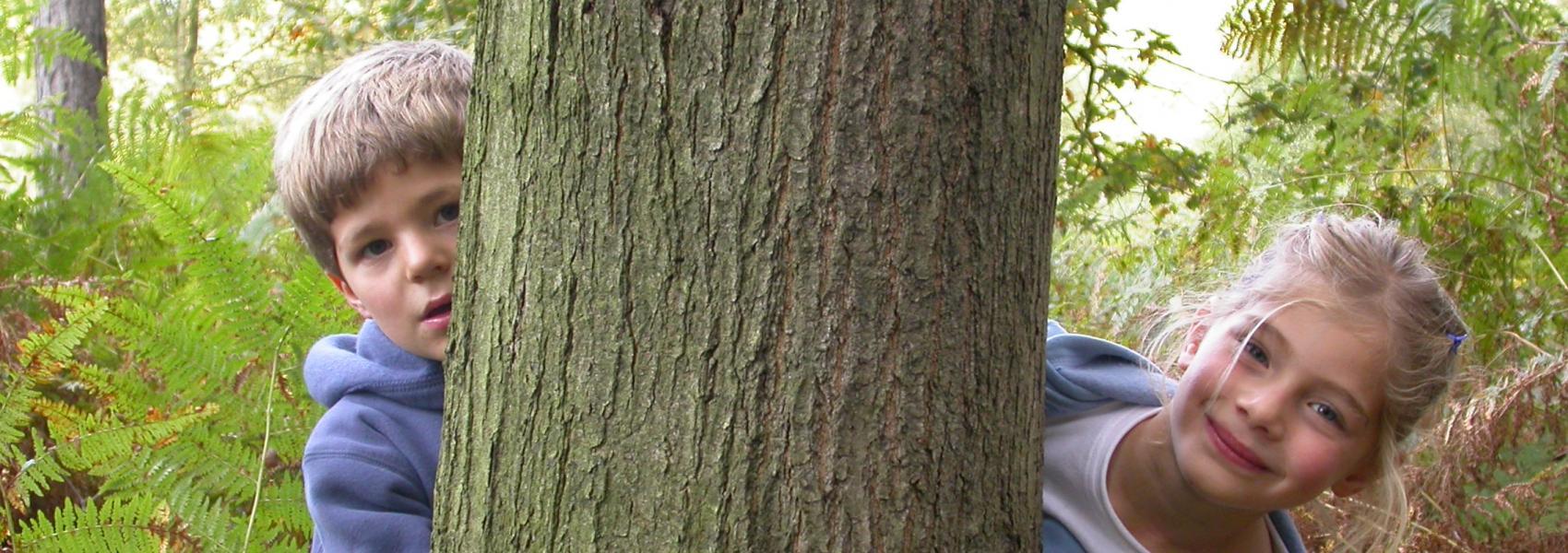 twee kinderen die van achter een boom komen