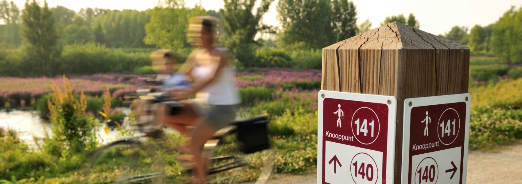 knooppuntenpaal met op de achtergrond een vrouw met kind op de fiets