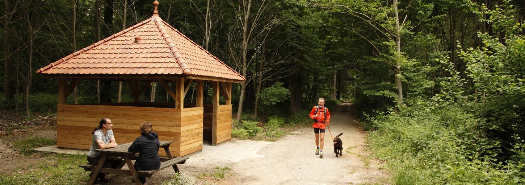 mand met hond en 2 mensen op een picknickbank bij een schuilhut
